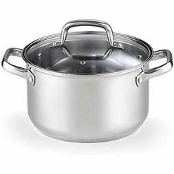 02609 Stockpots Lid 5-Quart Stainless Steel Casserole Silver