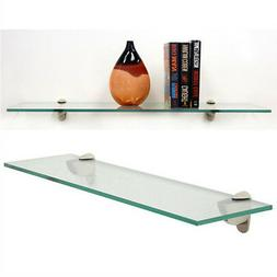 "10"" x 48"" Heron Clear Floating Tempered Glass Shelf 3/8"" Thi"
