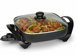 """11"""" Electric Skillet Nonstick Frying Pan Tempered Glass Lid"""