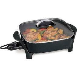 """Presto 12"""" Electric Skillet with Tempered Glass Cover, Roast"""
