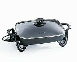 16 Inch Electric Skillet with Tempered Glass Cover Temp Cont
