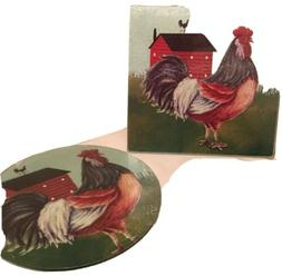2 Rooster Tempered Glass Cutting Boards 8x8- Brand New Round