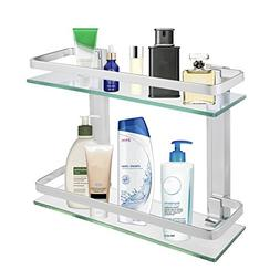 2-Tier Bathroom Glass Shelf Shower Organizer Storage Holder
