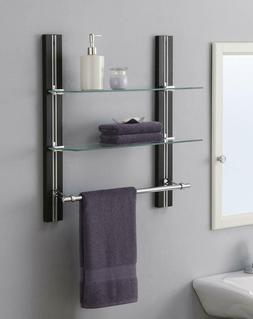 2 Tier Bathroom Shelf Tempered Glass Adjustable with Chrome
