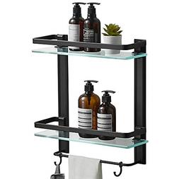 2 Tier Tempered Glass Shower Shelves with Towel Bar Wall Mou