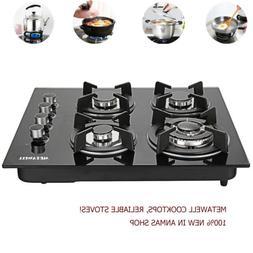 23.6'' Tempered Glass 4 Burner  Gas Stove Kitchen Cooktops C