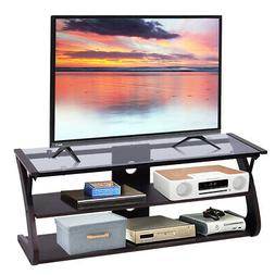 3-Tier Tempered Glass Top TV Stand Entertainment Center Medi