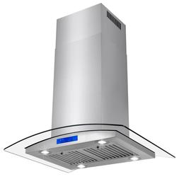 "30"" Stainless Steel Island Mount Range Hood with Tempered Gl"