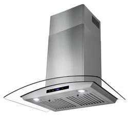 "30"" Stainless Steel Wall Mount Range Hood Fan with Tempered"