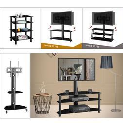 """32""""-70"""" Adjustable 2/3/4 Shelves Tempered Glass TV Stand Ent"""