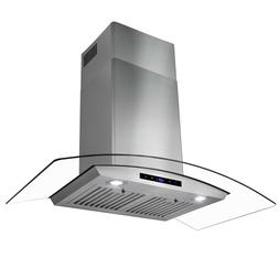 "36"" Stainless Steel Wall Mount Range Hood with Tempered Glas"