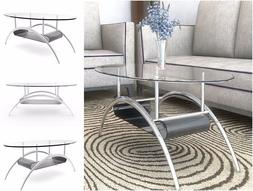 38'' Contemporary Coffee Table Tempered Safety Glass Metal M