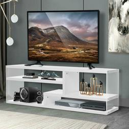 51'' White Wood TV Stand - White Finish with Tempered Glass