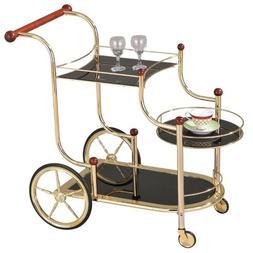 Acme Furniture Acme 98006 Lacy Glass Serving Cart, Golden Pl