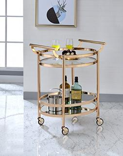 Acme Lakelyn Serving Cart, One Size, Clear Glass and Rose Go