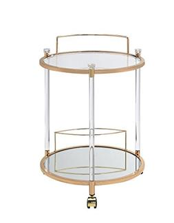 Acme Furniture Acme 98199 Todd Serving Cart, Clear Glass & G