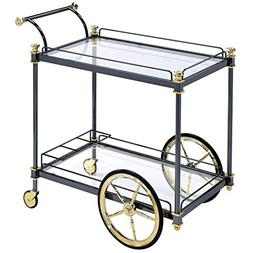 ACME Furniture 98370 Cyrus Serving Cart, Black and Clear Gla