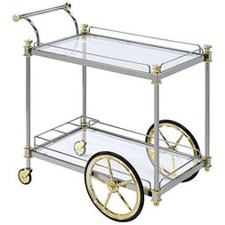 ACME Furniture 98372 Cyrus Serving Cart, Silver and Clear Gl