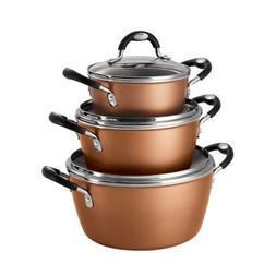 Copper - Tramontina 6-Piece Stackable Nonstick Cookware Set