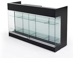 Displays2go Sales Counter with Glass Shelves, Tempered Glass