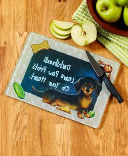 "Dog Breed Kitchen Cutting Boards, 11""W x 8""L. Tempered Glass"
