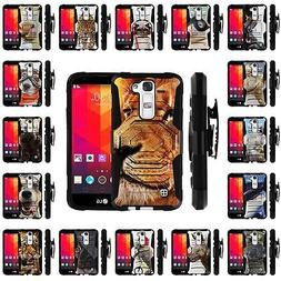 For LG K7 | Holster Clip + Tempered Glass Heavy Duty Case Wi