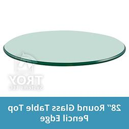 "Glass Table Top: 28'' Round, 3/8"" Thick, Pencil Polish Edge,"
