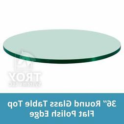 "Glass Table Top: 36"" Round, 1/4"" Thick, Flat Edge, Tempered"