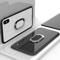 Luxury Tempered Glass Case Cover With Ring Holder Buckle For