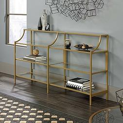Modern Gold Console Table Tempered Glass Top Metal Frame 2 S