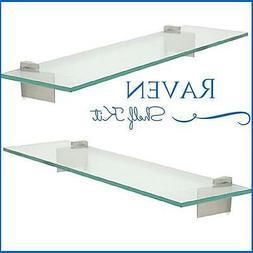 "Raven Floating Glass Shelf Kit - 3/8"" Tempered Glass Shelf w"