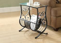 Satin Black Metal Magazine Table with Tempered Glass