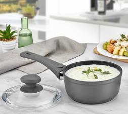 Saflon Titanium Nonstick Sauce Pan with Tempered Glass Lid,
