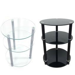 Tempered Glass 3-Tier Round Sofa Table Coffee Shelf  Base Li