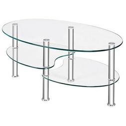 Tempered Glass Oval Side Coffee Table Shelf Chrome Base Livi