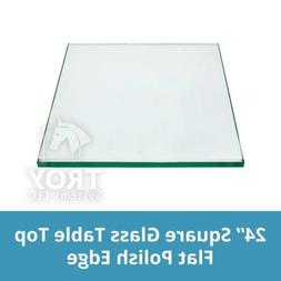 TroySys Square Glass Table Top 24 Inch Custom Annealed Clear