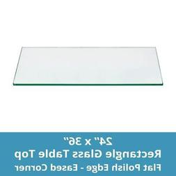"TroySys Tempered Glass Table Top, 1/4"" Thick, Flat Polished"