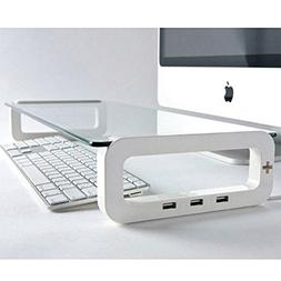 UBOARD SMART - Tempered Glass Monitor Stand Shelf USB Multib