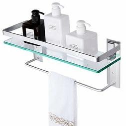 Tempered Glass Bathroom Shelf With Towel Bar VDOMUS wall mou