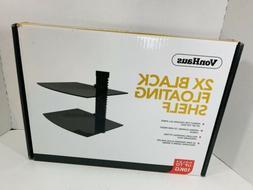 VonHaus 2x Floating Glass Shelves Black Sky Box PS4 Xbox TV