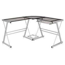 WE Furniture 3 Piece Soreno Silver with Smoke Glass Corner D