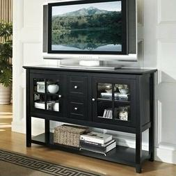"WE Furniture 52"" Console Table Wood TV Stand Console, Black"