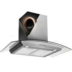 "Wall Mount 30"" Stainless Steel Range Hood Tempered Glass LED"