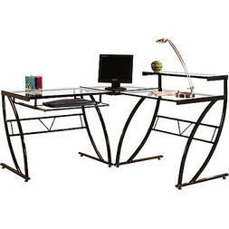 Z-line Designs - Belair Glass L-shaped Computer Desk