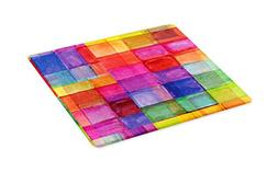 Ambesonne Abstract Cutting Board, Rainbow Colored Geometric