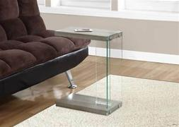 Accent End Table in Glossy Gray with Tempered Glass Top