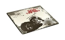 Ambesonne Adventure Cutting Board, Ride Your Way Quote Motor
