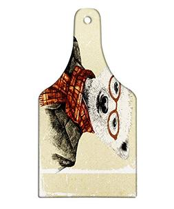Ambesonne Animal Cutting Board, Hipster Bear with Glasses Sc
