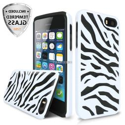 For Apple iPhone 6S/6 Zebra Hybrid Impact Case Cover+Tempere