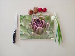 artichokes art on tempered glass cutting board